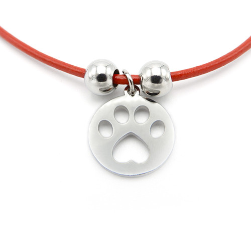 LILO Collections Paw Cutout Skinny necklace, pictured on red leather cord