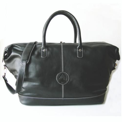 Weekender duffel leather travel bag with strap black