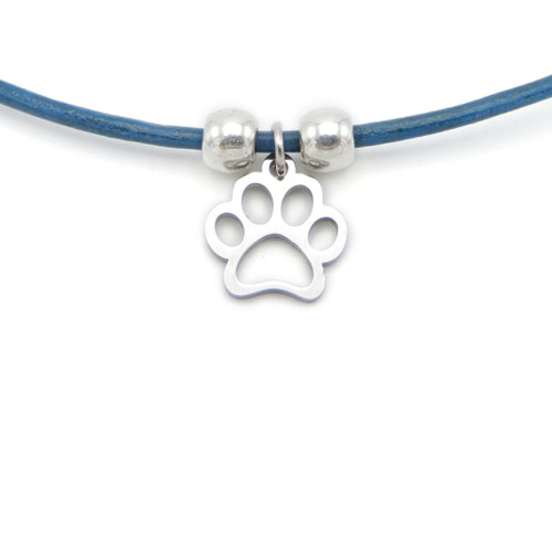 LILO Collections Paw Shape Skinny leather necklace, pictured on turquoise cord