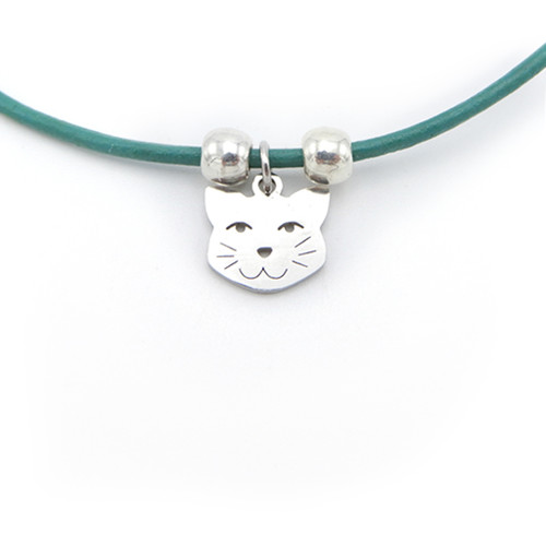 LILO Collections Smiling Cat Skinny leather necklace, on teal cord