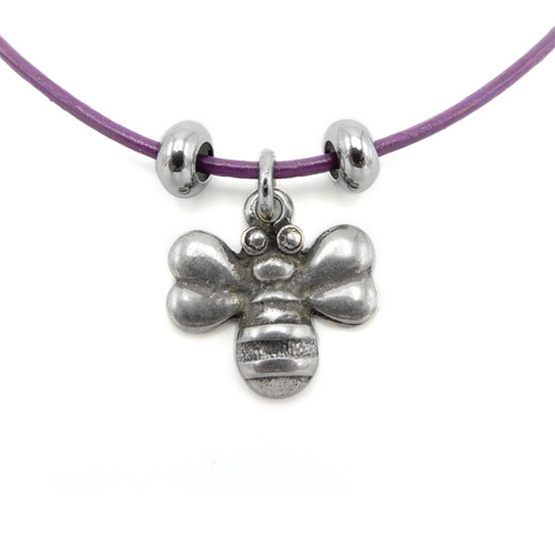 LILO Collections Big Bee Skinny leather necklace, pictured on purple cord