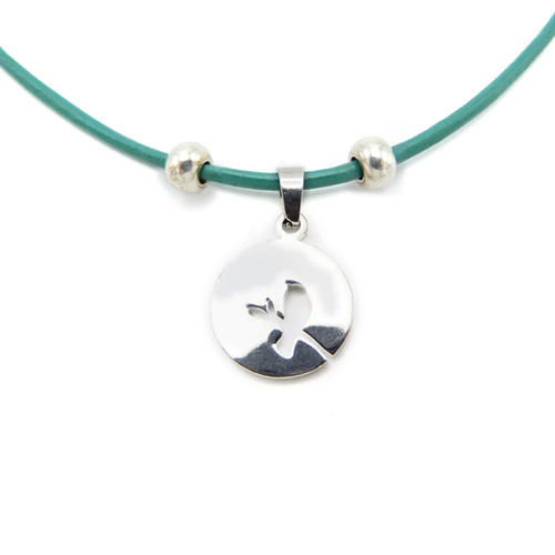 LILO Collections Love Bird Skinny leather necklace, pictured on teal cord