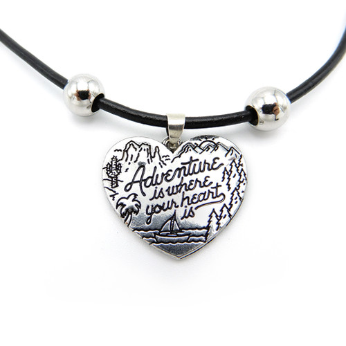 LILO Collections Adventure Heart Skinny leather necklace on black cord