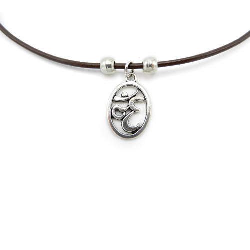 LILO Collections Om Oval Skinny leather necklace on black cord