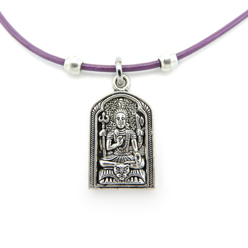 LILO Collections Buddha Alcove Skinny leather necklace pictured on purple cord