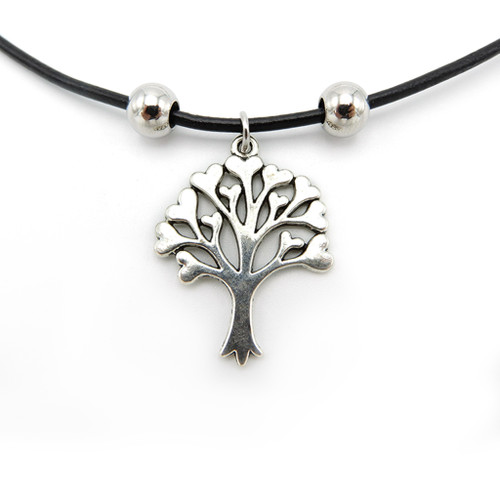 LILO Collections Heart Tree Skinny leather necklace pictured on black cord