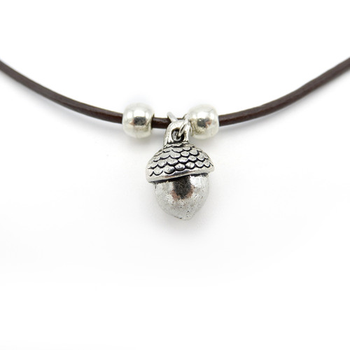 LILO Collections Acorn Skinny leather necklace, pictured on brown cord