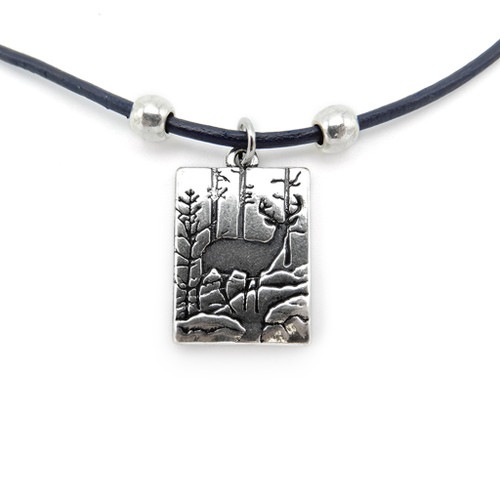 LILO Collections Forest Stag Skinny leather necklace pictured on black cord