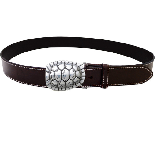 LILO Collections Turtle Shell belt buckle on Classic Brown strap