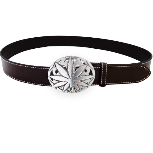 LILO Collections Taba leaf belt buckle on Classic Brown strap