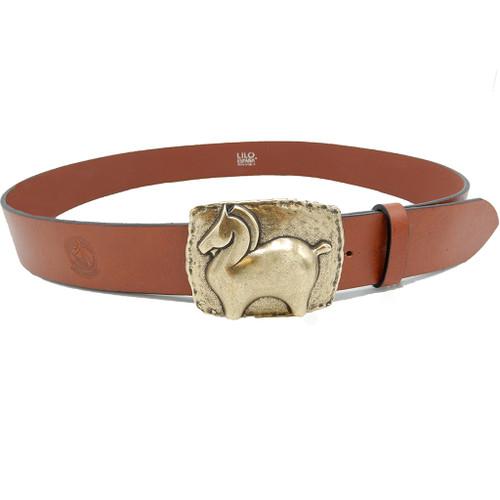 LILO Dala Fat Pony leather Belt with vintage chestnut strap
