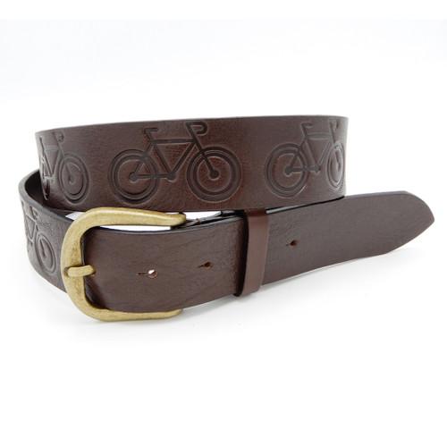 LILO Collections Roadie debossed belt in Chocolate