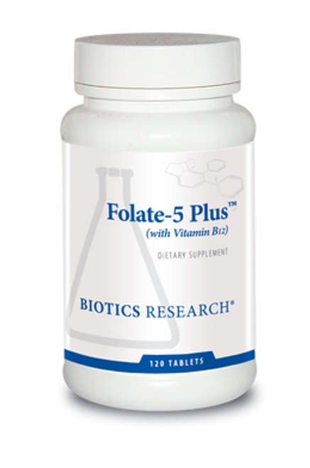 Folate-5 Plus with B12 120 Tablets Biotics Research