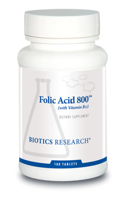 Folic Acid 800 with B12 180 Tablets Biotics Research