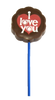 "Lollipop milk chocolate - ""I Love You"" $4.00."
