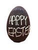 """Happy Easter"" hollow dark chocolate egg 215mm high $35.00"