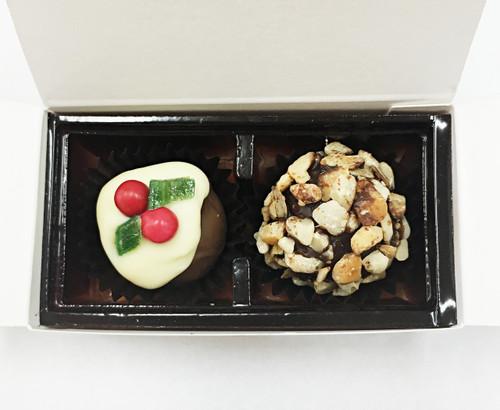 White Gift Box - 2 chocolates with Xmas Truffle Dark $5.50