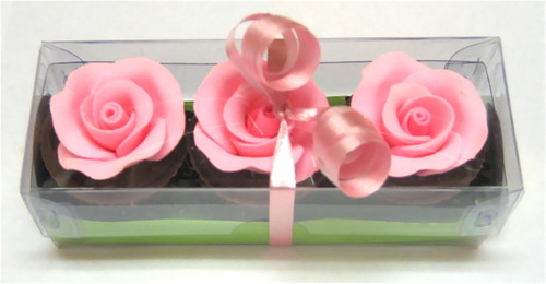 Trio of 'pink rose' rosewater ganache chocolates - 50g $7.90