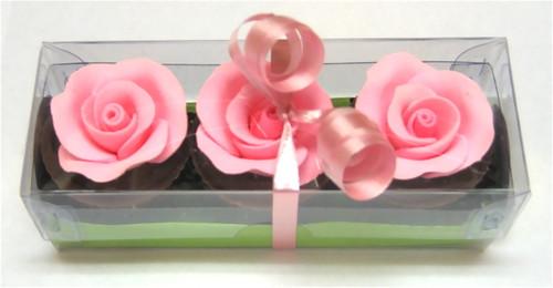Trio of 'pink rose' rosewater ganache chocolates - 50g $7.90