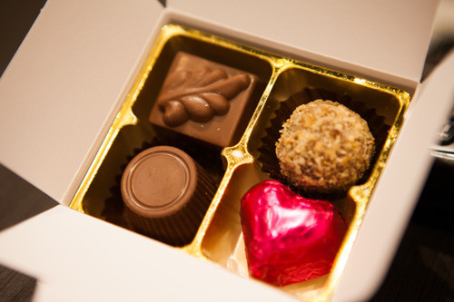 White box - 4 chocolates with one cerise heart $9.90