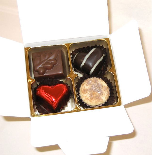 White box - 4 chocolates with one red heart $9.90