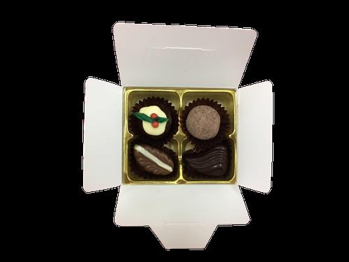 White Gift Box - 4  with Xmas Truffle Dark $9.90