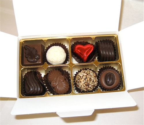 White gift box - 8 chocolates-1 Red foiled heart $18.50