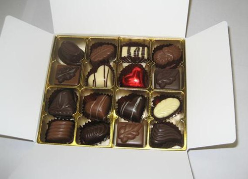White box - 16 chocolates with 1 Red Heart $36.50
