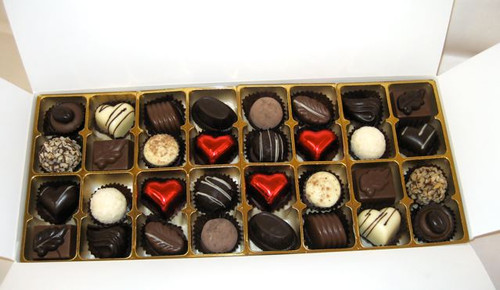 White gift box - 32 chocolates with red hearts $67.50