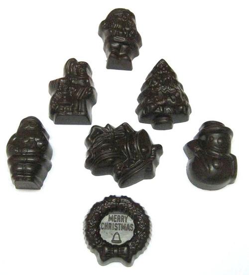 Assorted dark chocolate Christmas shapes