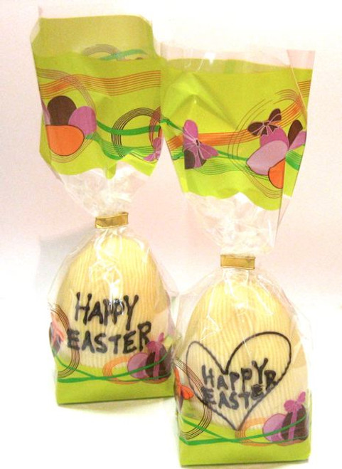 "Hollow white chocolate ""Happy Easter"" egg 105mm high $10.90"