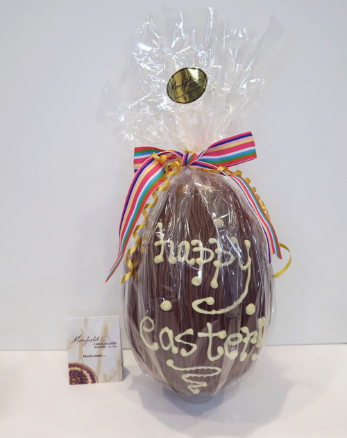 """Large """"Happy Easter"""" hollow milk chocolate egg"""