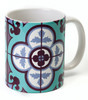 Flower Tile Aqua coffee Mug - Barbara Shaw  jewish Gifts