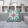 Flower Tile Cushion - Aqua