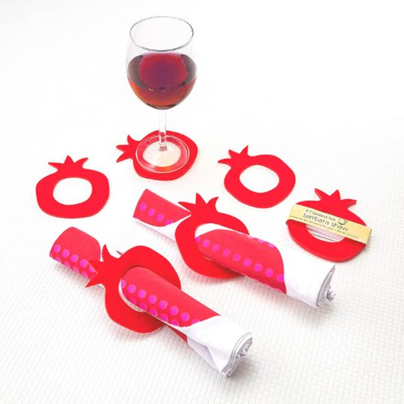 PERSPEX Pomegranate shaped napkin rings/coasters
