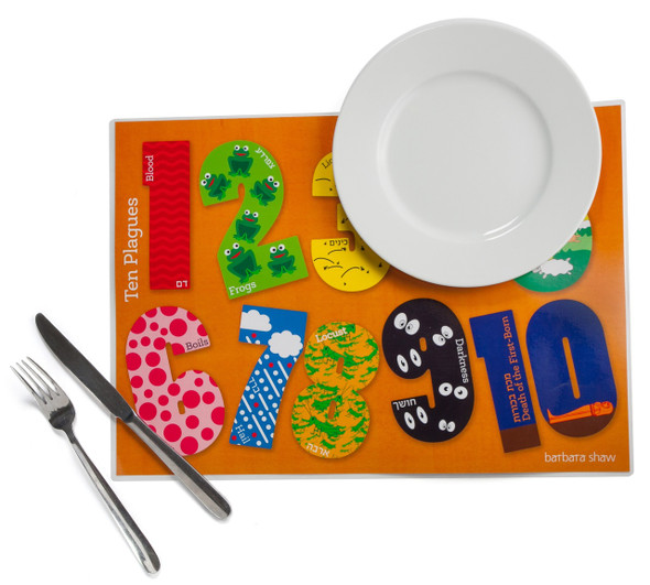 Barbara Shaw Passover Placemat 10 Plagues design laminated Set of 4 for kids