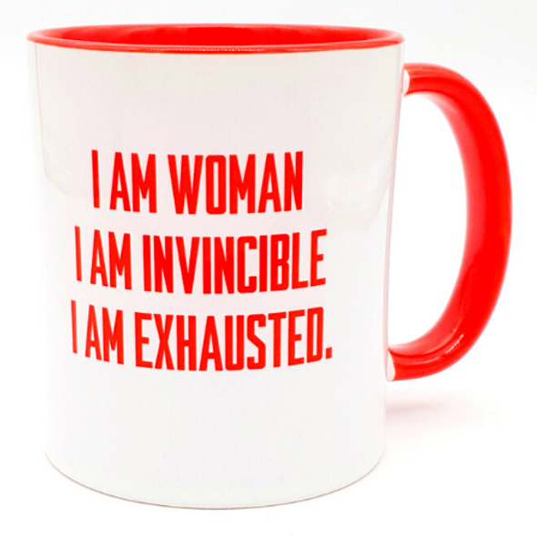 Barbara Shaw I Am Woman I Am Invincible I Am Exhausted Jewish Mother's day funny Red coffee mug