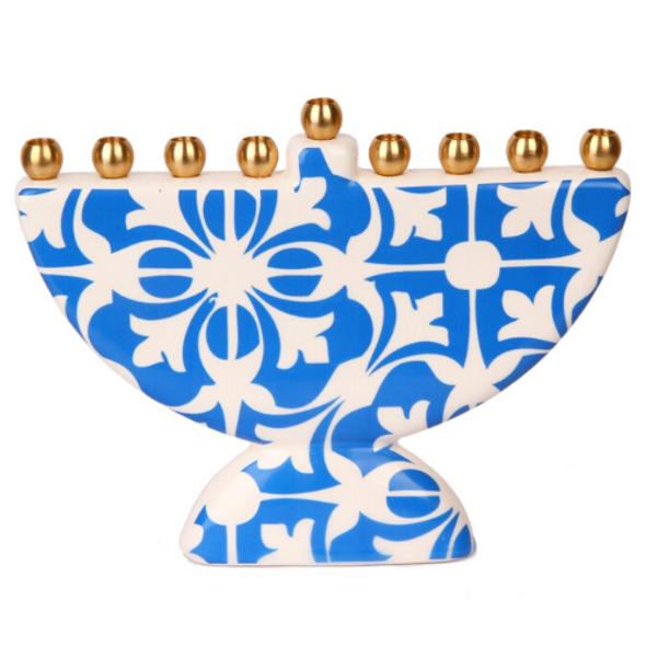 Moroccan Tile design Ceramic Hanukkah Menorah in light blue