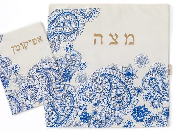 Barbara Shaw Blue and Gold Paisley Matza Cover and Afikoman Set for Passover
