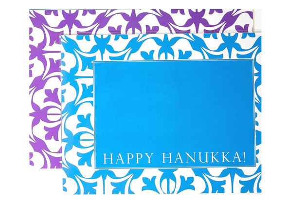Hanukkah Laminated Drip Mat Set of 2 -  Blue and Purple
