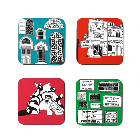 Funky Jerusalem Sites -cool Coasters set of 4