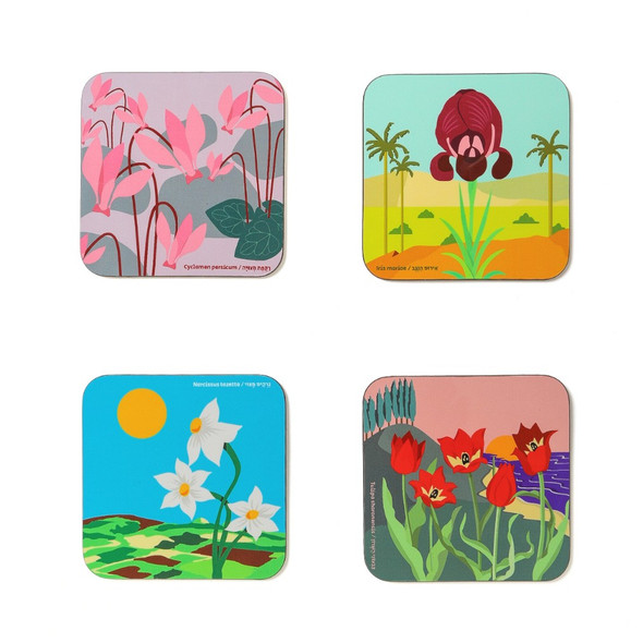 Flowers of israel- wooden Coaster set of 4