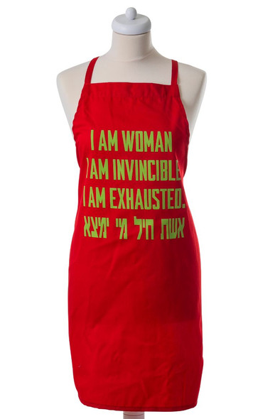 Jewish Apron- Invincible Woman in red