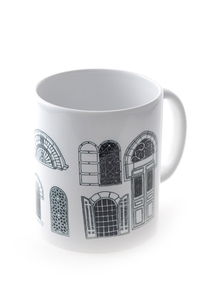 """Jerusalem Windows"" white and black coffee Mug"