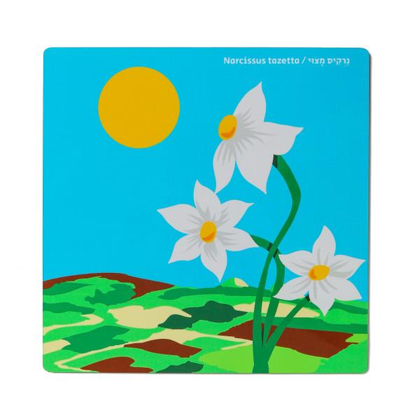 kitchen wood Trivet- Narcissus Tazetta Flower of Israel