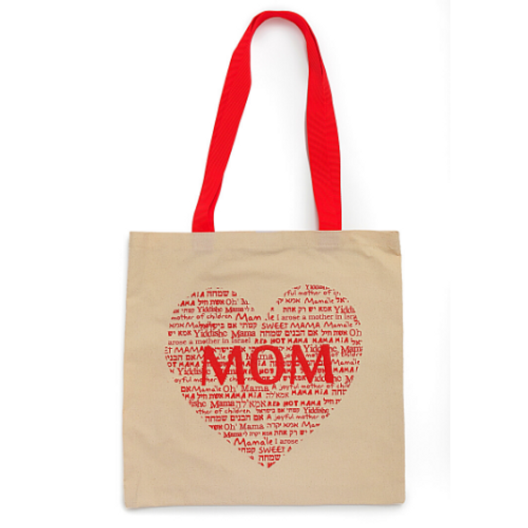 'Mom' Canvas Tote Bag Red