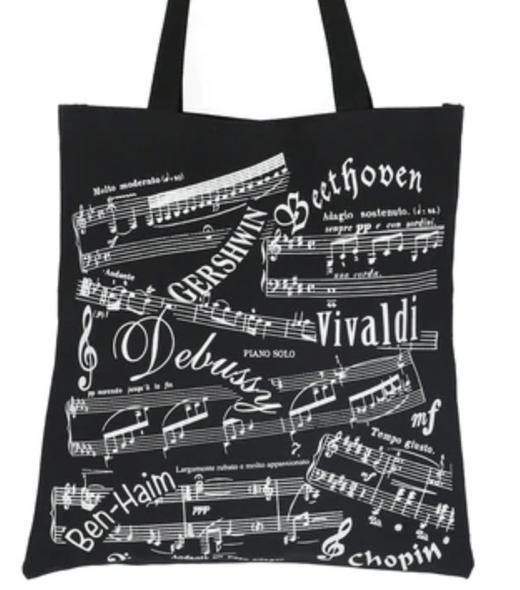 Black Tote Bag - Music Notes design