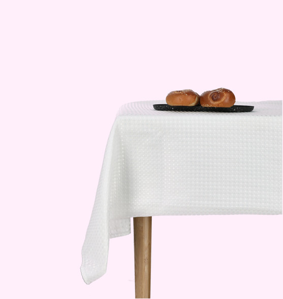 Elegant festive White squares Table Cloth - easy to wash No iron