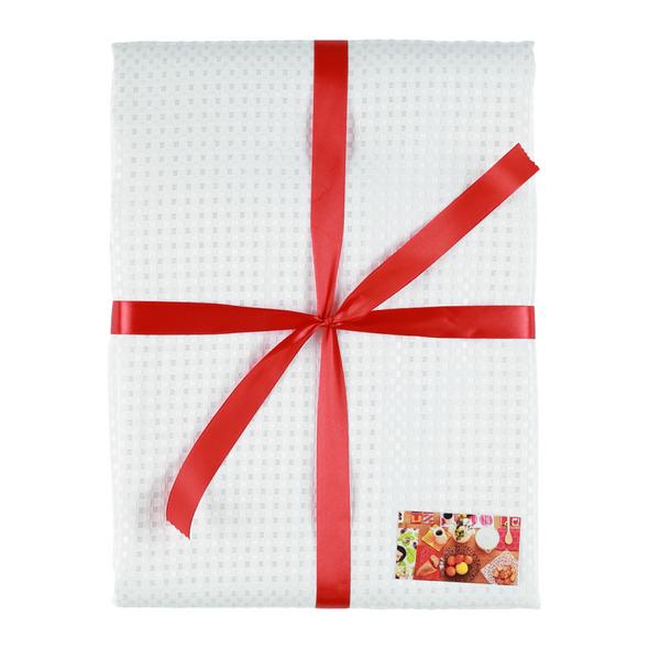 Elegant festive White squares Table Cloth - easy to wash No iron