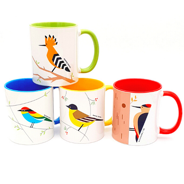 Birds of Israel colorful Coffee mug set of 4 | Barbara Shaw Gifts